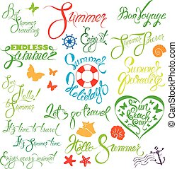 Set of handwritten text: Endless Summer, enjoy it, let`s go travel, sun beach fun, etc. Calligraphy elements for season holiday, travel or vacations design.
