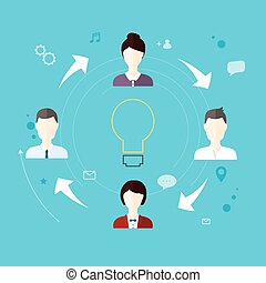 Modern Business Concept, The idea of teamwork and success.  Flat design style modern vector illustration concept.