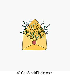 Retro envelope with flowers. Vector illustration.