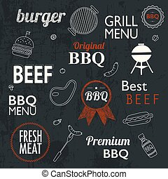 Barbecue Grill Icons and labels for any use, on a grunge...