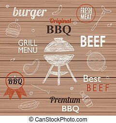 Barbecue Grill Icons and labels for any use, on a wooden...