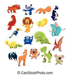 Southern Animals Set Of Flat Vector Icons In Cartoon Style...