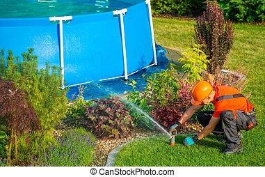 Lawn Garden Technician - Caucasian Lawn Garden Technician in...