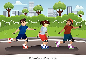 Kids Rollerblading Outdoor - A vector illustration of a...