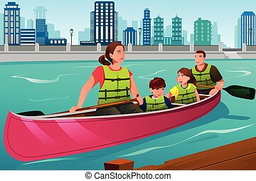 Family Canoeing Together - A vector illustration of happy...