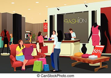 Women Shopping For Clothing
