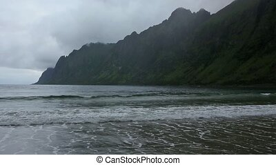 Summer Senja Coast Cloudy Night Vie - Summer night coast...