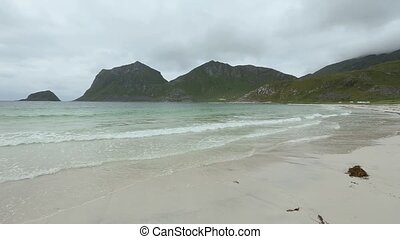 Lofoten Coast Summer View, Norway - Haukland beach summer...