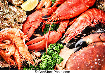 Fine selection of crustacean for dinner. Lobster, crab and...