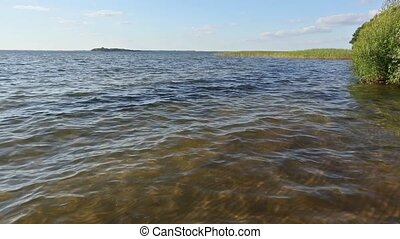 Big Lake Summer Scenery - Summer lake view with small waves...