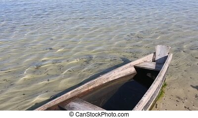 Prow of Wooden Boat on Sand - Prow of wooden boat on sandy...