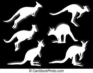 kangaroos in silhouettes in different poses and attitudes