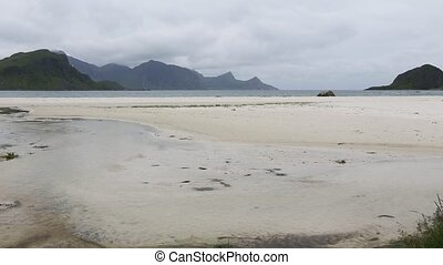 Lofoten Sandy Beach Evening View. - Small clear stream...