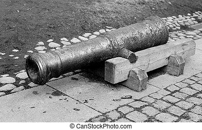 viejo, artillería, cannon.,