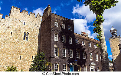 Historic buildings at Tower of London historic castle on the...