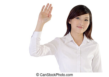 greet - Business woman of Asian raise hand to greet on white...