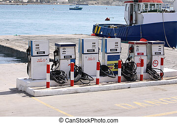 gas station - old working gas station in malta by the coast