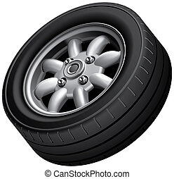 Compact cars wheel - High quality illustration of compact...