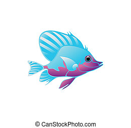 Dark blue fish on a white background. A vector illustration