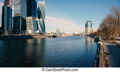 skyscrapers on the banks of the river Moscow