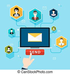 Running email campaign, email advertising, direct digital marketing. Flat design style modern vector illustration concept.