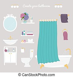 cuarto de baño, Conjunto, Ilustración,  personal, crear, higiene, iconos,  hand-drawn,  vector, cuarto de baño, su