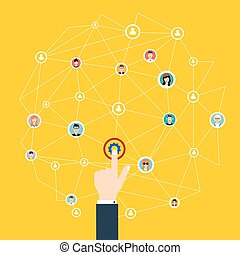 Business communication. Social media and network connection concept. Button engineering business. Vector illustration.
