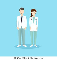 Male and Female Doctor occupation character in flat design. Vector illustration.