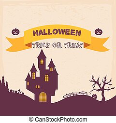 Halloween Badges and Labels in Vintage style. Vector illustration.
