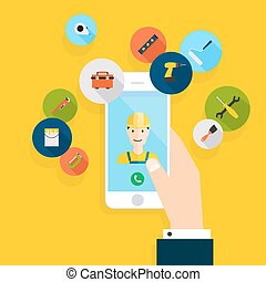 Vector modern creative flat design on hand holding mobile phone with building maintenance and repair service. Vector illustration.