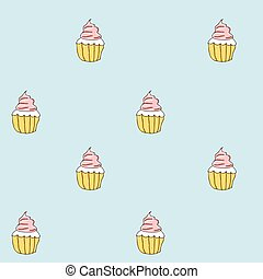 Set of sweet patterns. Seamless backgrounds with cream cupcake. Vector illustration.