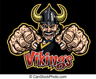vikings team design with mascot and large fists for school,...