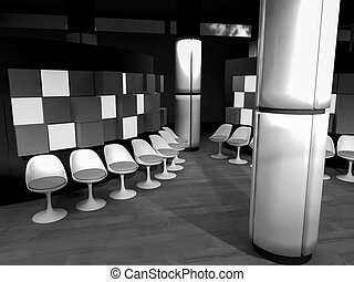 waiting room with chairs in hospital, clean room with shapes in 3d, business space and work