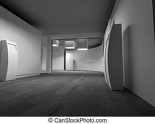 clean art gallery space with blank frames on the wall, clean...