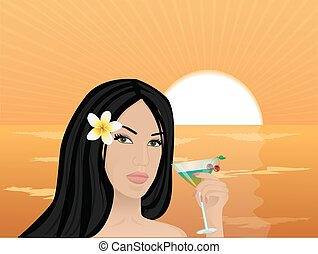 girl with a cocktail at sunset
