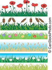 Set seamless grass and flowers