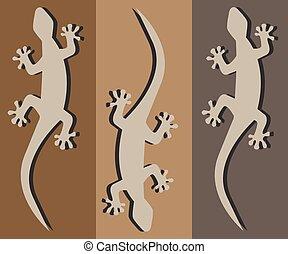 geckos - three geckos crawling silhouette with a black...