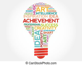 Achievement bulb word cloud concept