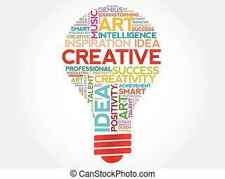 Creative bulb word cloud concept