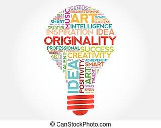 Originality bulb word cloud concept