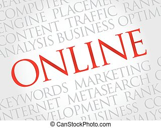 ONLINE word cloud, business concept