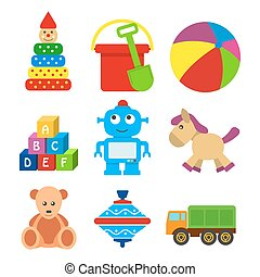 set of kids toys in a flat style. - set of kids toys in a...