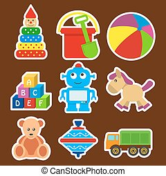 set stickers with a picture of children toys for nursery.