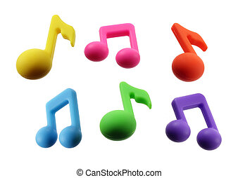 Musical Notes on White Background