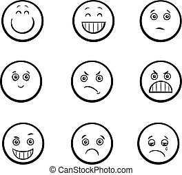 cartoon emoticons set - Black and White Cartoon Illustration...