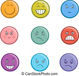 cartoon emoticons faces set - Cartoon Illustration of...