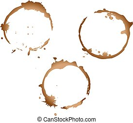 coffee stains - three prints coffee stains on white...