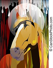 horse - Digital painting of power stallion horse in...