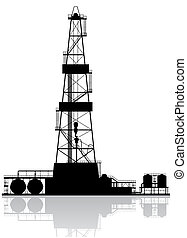 Oil rig silhouette Detailed raster illustration isolated on...