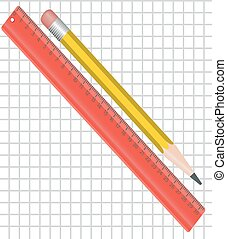 ruler and pencil